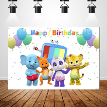 Sxy1601 Word Party Newborn Birthday Backrops Custom Colorful Balloons Animals fondo fotografico Photo Background Banner 7x5ft