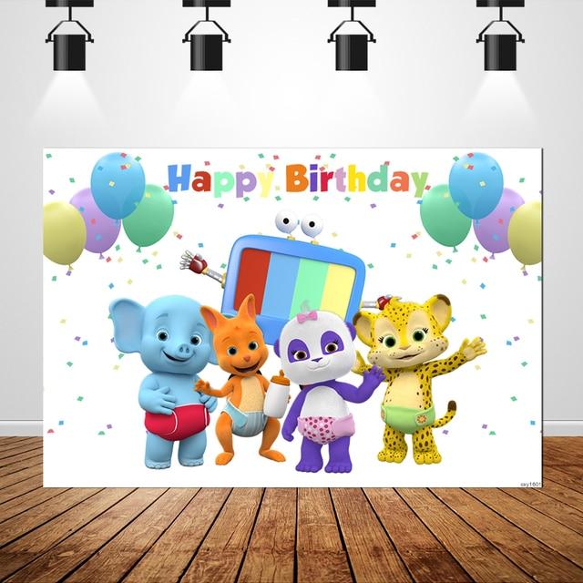 Sxy1601 Wort Party Neugeborenen Geburtstag Backrops Custom Bunten Luftballons Tiere fondo fotografico Foto Hintergrund Banner 7x5ft