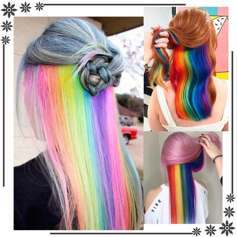 AILIADE 36 Kleuren 50CM Enkele Clip In Een Stuk Hair Extensions Synthetische Lange Rechte Ombre Regenboog Haar Stuk Voor vrouwen
