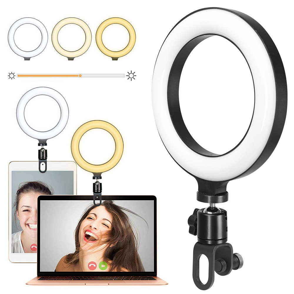 Selfie Ring Light for Laptop PC Video Conference Live Stream Light with Stand Portable Photography LED Lamp for Computer Camera