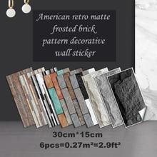 6pcs Self Adhesive Wall Sticker Brick Pattern Stickers 30x15cm PVC Waterproof Matte Wall Sticker Wallpaper For Tile Home Decor