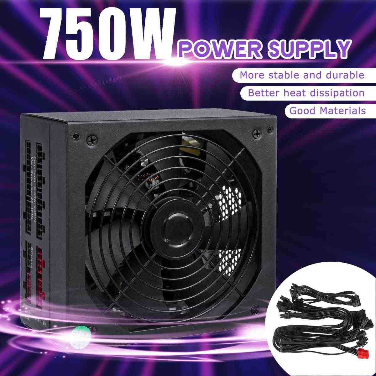 750W Psu Atx 12V Gaming Pc Voeding 24Pin/Pci/Sata/Atx 700 Walt 12cm Fan Nieuwe Computer Voeding Voor Btc