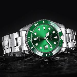 Image 1 - Fashion Green Watch Men 2020 Mens Watches Top Brand Luxury Full Steel Man Quartz Wristwatches Date Waterproof Clock reloj hombre