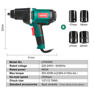 Image 3 - 950W Electric Impact Wrench 450 550Nm Max Torque LANNERET 1/2 inch Car Socket Household Professional Wrench Changing Tire Tools