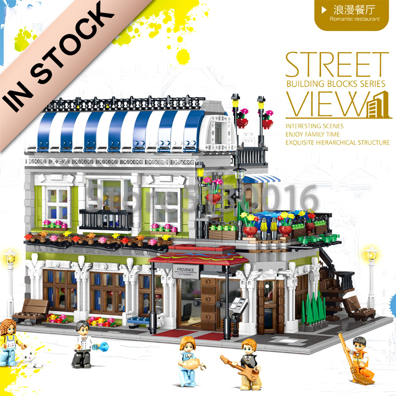 In Stock Ql0920 MOC Romantic Restaurant City 3577Pcs Streetview Series The Europe Type Model Building Blocks Toys