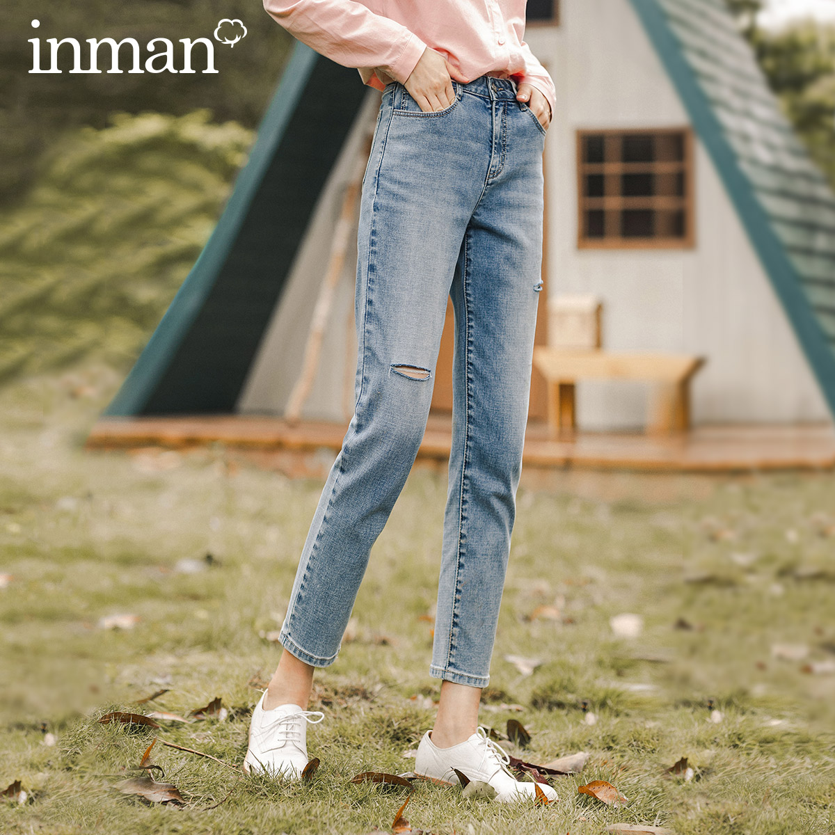 INAMN 2020 Autumn New Arrival Slim-fitting High-waisted Straight-leg Pencil Trousers With Nine-point Ripped Jeans For Women