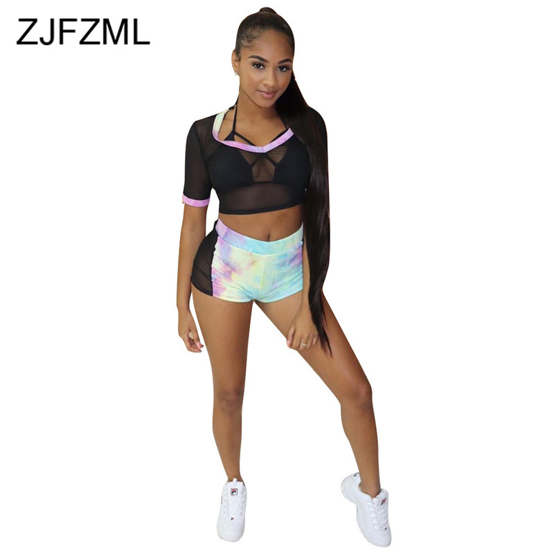 Tie Dyeing Print Sexy 2 Piece Outfit Summer Clothes For Women Sheer Mesh Long Sleeve Crop Top +Biker Short See Through Tracksuit