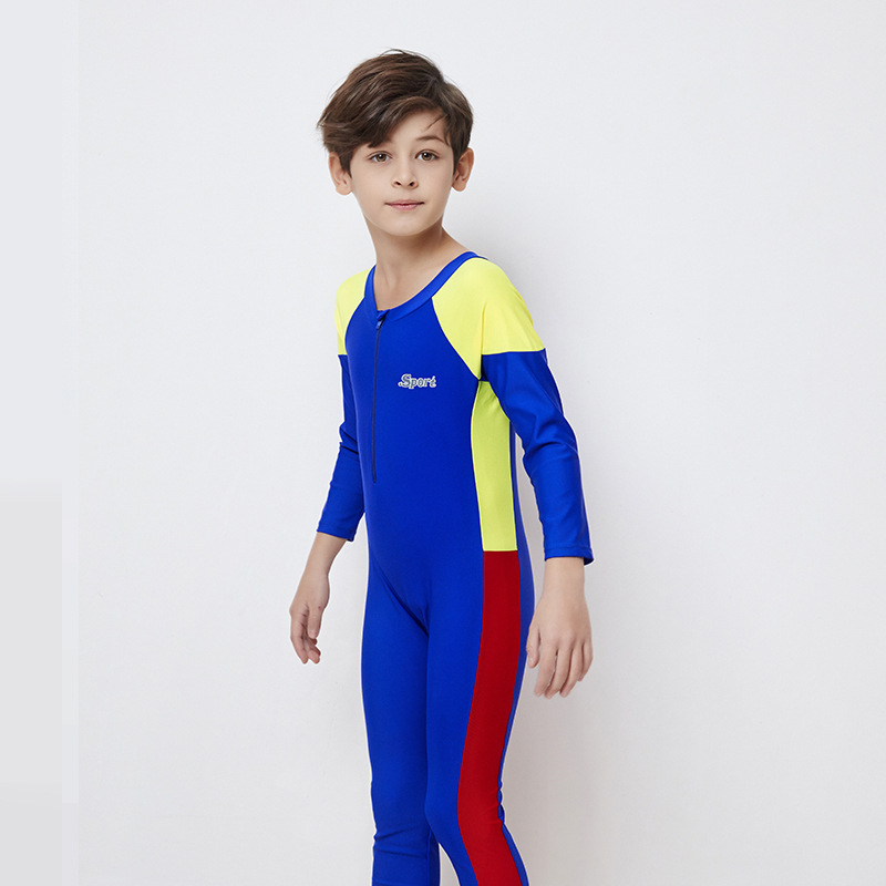 Children Siamese Swimsuit Long Sleeve Sun-resistant Men And Women Child Quick-Dry Students Baby Big Boy Diving Suit Set Swimwear