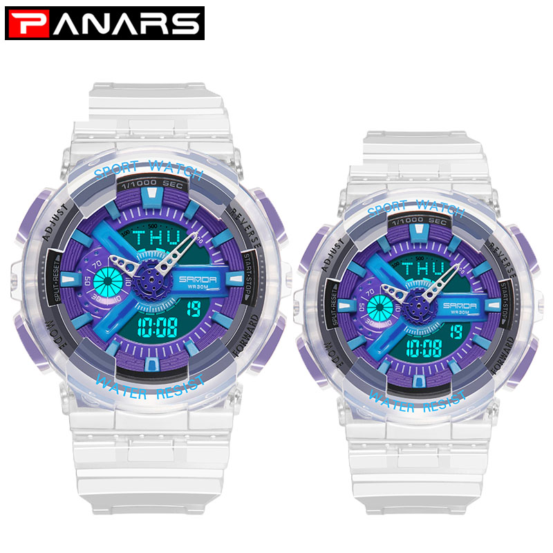 PANARS Couple Watches Transparent Male Girlfriend Gift Shock Men's Watch Blue Dial Luxury Watch Women 2019 Montre Homme Digital