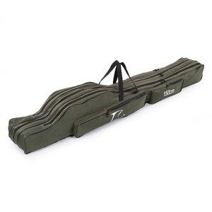 Image 1 - FDDL 120CM 130CM 150CM 휴대용 접이식 낚시대 가방 다목적 캐리어 캔버스 낚시대 유혹 도구 보관 가방 케이스