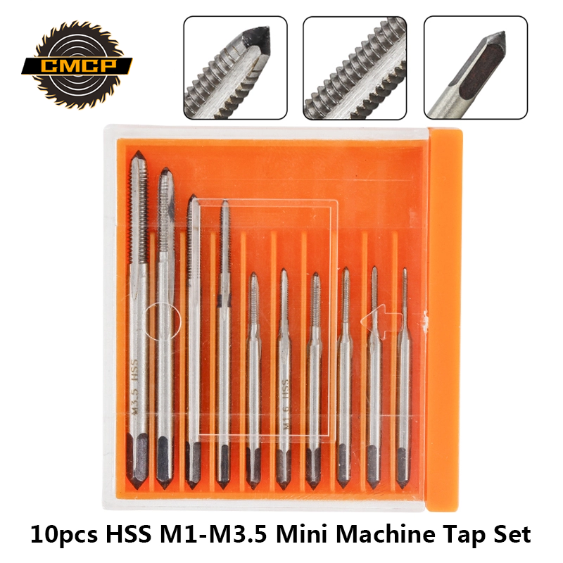 Free Shipping 10pcs HSS M1 M1.2 M1.4 M1.6 M1.7 M1.8 M2 M2.5 M3 M3.5 Mini Tap Drill Bit Machine Metric Thread Tap Set Screw Tap