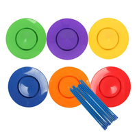 6 Set Plastic Juggling Spinning Plates Sticks Performance Props Kids Adult Balance Classic Toy Indoor Outdoor Fun Sports Games
