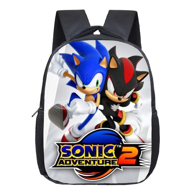 12 Inch Cartoon Sonic Children School Bags For Boy Girls Kindergarten Bags Kids School Backpack Small Toddler Bag Bookbag