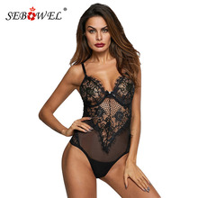 2017 Women Lingerie Camisole Sexy Black Sheer Mesh Lace Cupped Teddy Lingerie See Through Babydoll Teddies Bodysuit Overalls see through mesh lace backless teddy
