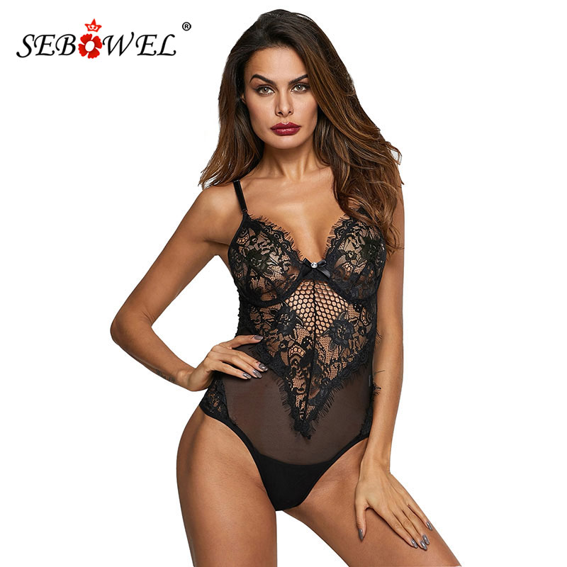 SEBOWEL Sexy White Sheer Mesh Lace Bodysuit Women Sleeveless Summer   Jumpsuit   Backless Slip Leotard Bodies One Piece Sleepwear