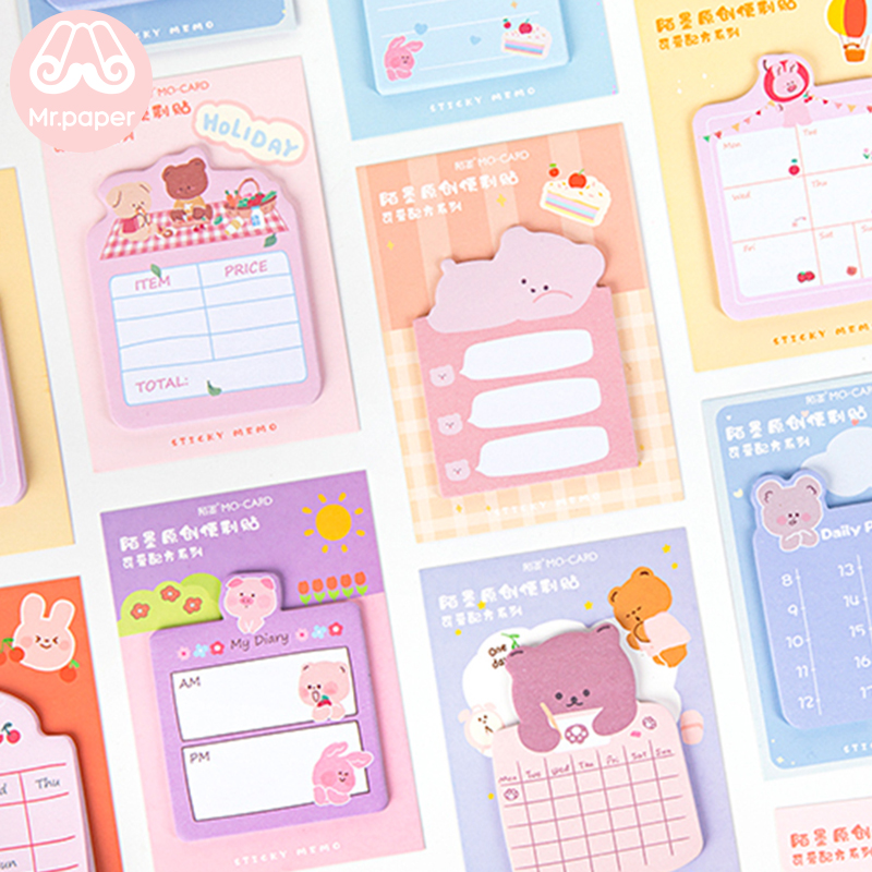 Mr Paper 30pcs/pad 8 Designs Animal Daily Life Memo Pad Sticky Notes Notepad Diary Creative Stationery Self-Stick Note Memo Pads