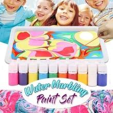 Kids Water-based art paint set Marbling Painting Kit DIY Painting on Water Creative Art Set of 6 Colors acrylic paint  #R20 недорого
