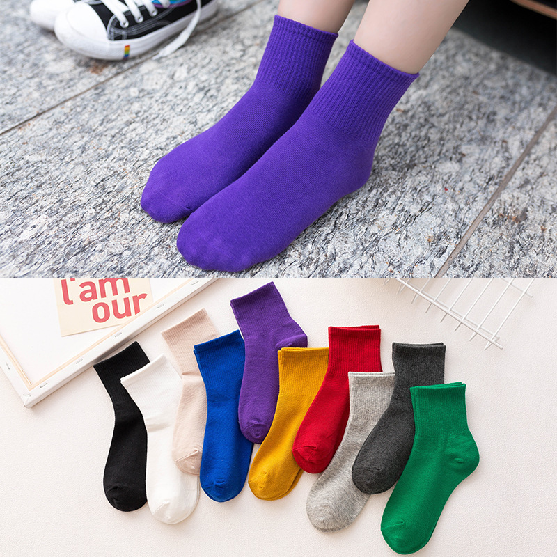 GREENYU Brand New Model Cotton Solid Color Women Thick Socks Winter Warm Socks Cotton Breathable Sweat-absorbing Socks Women