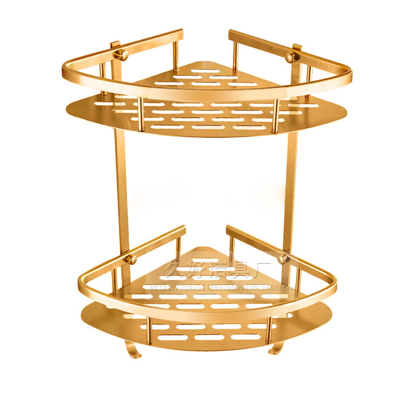 Gold Space Auminum Corner Shelves Bathroom Shower Baskets 2 Layer Wall Mounted Storage Rack Bathroom Accessories