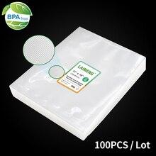LAIMENG bolsas de vacío para sellador al vacío, película de almacenamiento de alimentos, bolsas de sellado al vacío, 100/lote, bolsas de embalaje para electrodomésticos de cocina Sous Vide P106