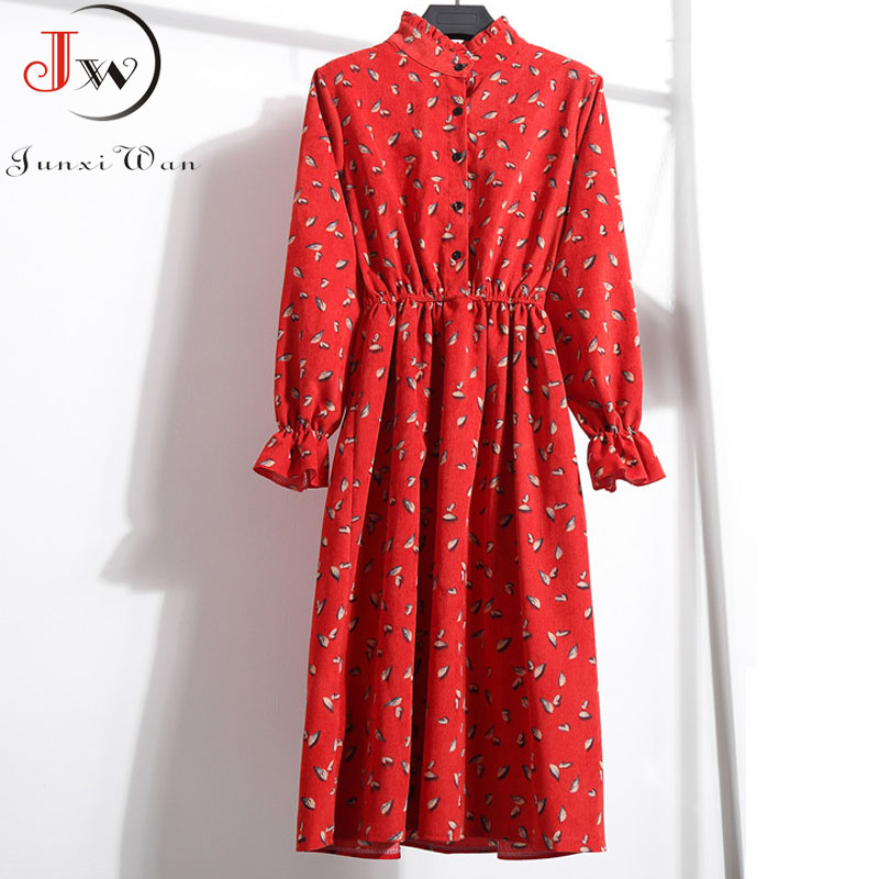 2019 Women Sweet Corduroy Thick Autumn Winter Dress Stand Collar Floral Print Long Sleeve Elastic Waist Elegant Vintage Dresses