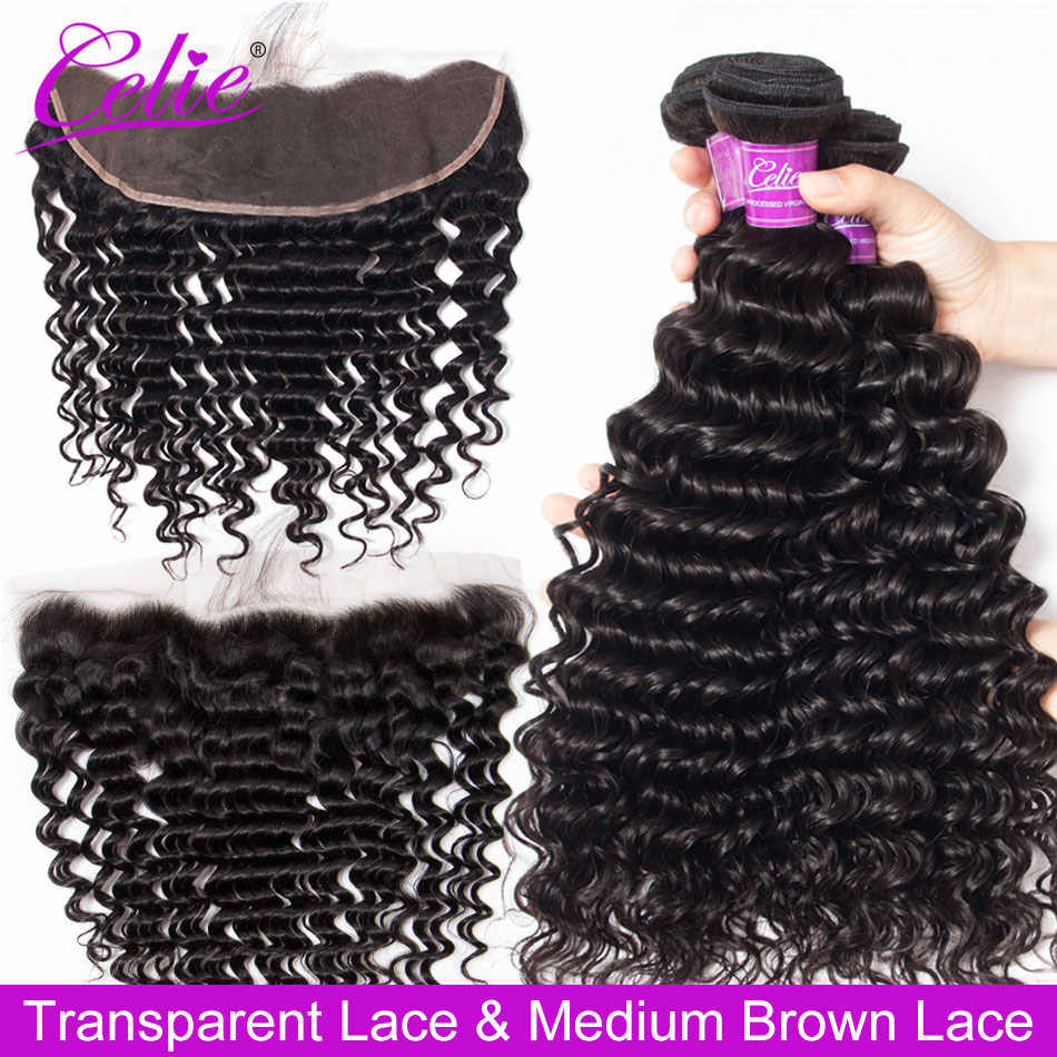 Celie Deep Wave Bundles With Frontal Remy Brazilian Curly Bundles With HD Transparent Closure Human Hair 3 Bundles With Closure