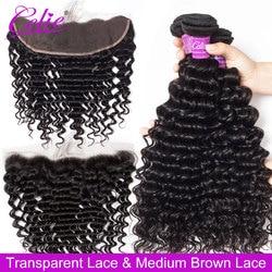 Celie Deep Wave Bundles With Frontal Remy Brazilian Curly Bundles With HD Transparent Closure Human Hair 3 Bundles With Closure