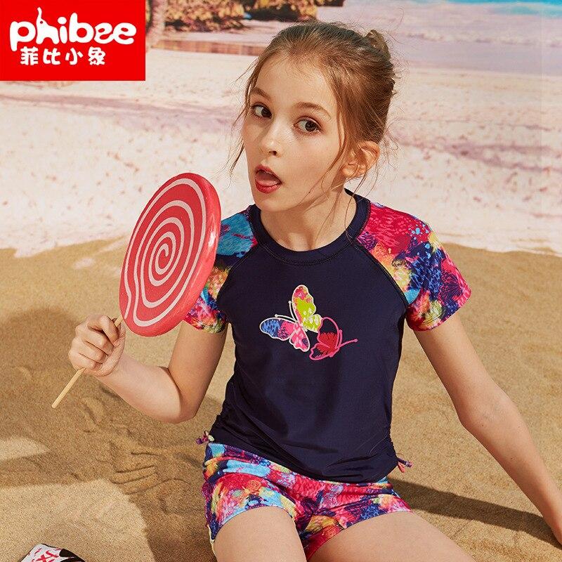 Phibee Phoebe Baby Elephant Children Outdoor Bathing Suit Sports Girls Wading Cute Bathing Suit Swimming Trunks Two-Piece Swimwe