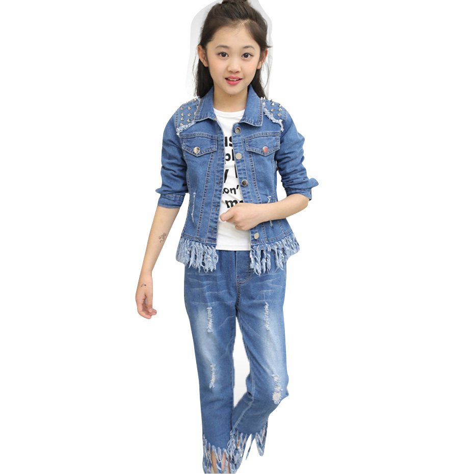Girls <font><b>Clothes</b></font> Set Denim Rivet Jackets + Jeans 2PCS Set Girls Autumn <font><b>Winter</b></font> <font><b>Clothes</b></font> Teenage Kids Wear 6 <font><b>8</b></font> 10 12 13 14 <font><b>Year</b></font> image