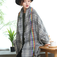 Fashion warm scarf autumn winter new scarf rainbow thousands of birds checked scarf imitation cashmere neck shawl dual-use outdoor soft checked pattern fringed scarf