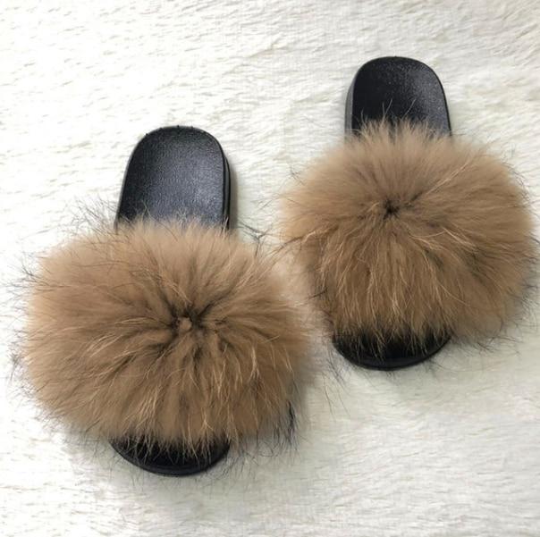 Womens Furry Slippers Ladies Cute Plush Fox Hair Fluffy Slippers Womens Fur Slippers,Fox hair1,9.5