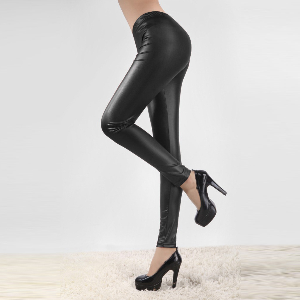 2020 Autumn Pu Faux Leather Leggings Women Black Skinny Pants Female Korean Slim Ladies Plus Size Pencil Leggins S-4xl