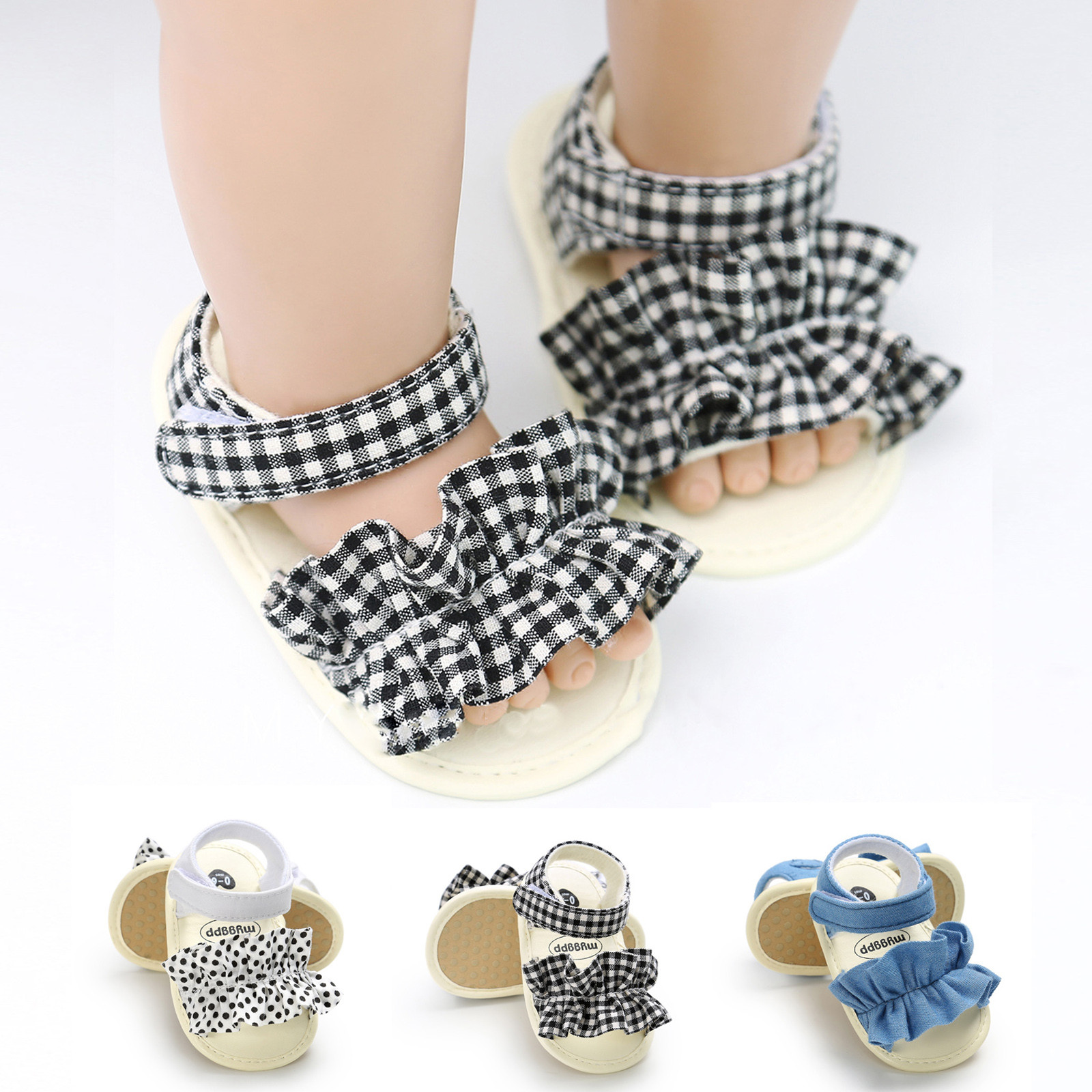 Summer Baby Sandals Summer Princess Sandals Toddler Cute Big Bow Cute Cloth Flat Shoes Soft Sole Sandals First Walking Shoes
