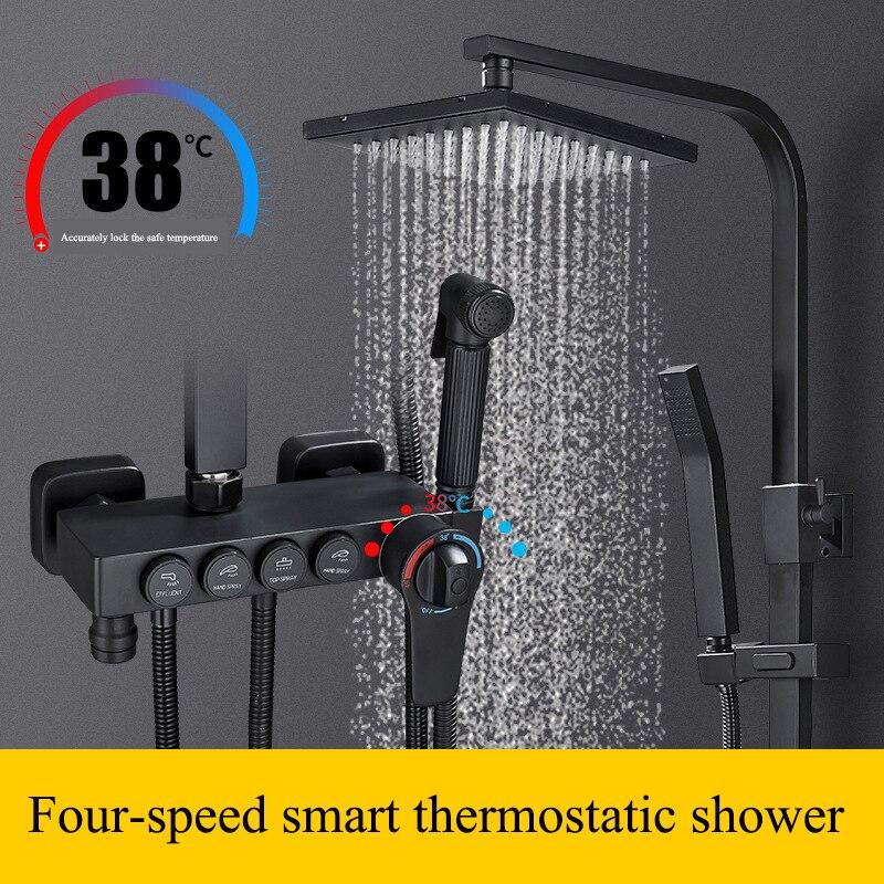 Bathroom shower full copper black thermostatic shower set adjustable lift booster shower rain shower nozzle AE02XC Bathroom shower full copper black thermostatic shower set adjustable lift booster shower rain shower nozzle AE02XC-0007