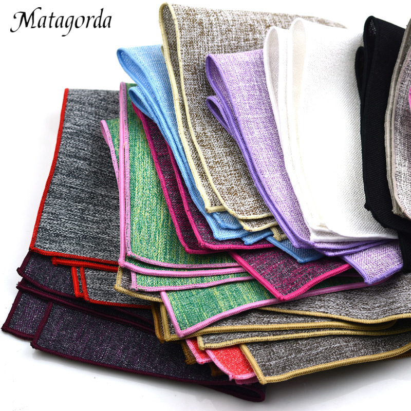 Matagorda Men Hanky Cotton Pocket Towel Banquet Wedding Accessories Small Square Towel Pocket Squares Hankerchief Scarf Cravat