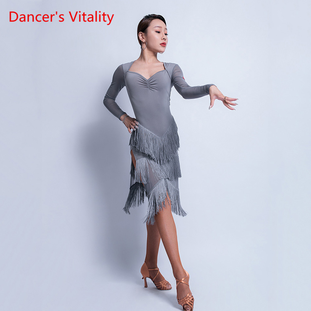 Latin Dance Skirt Female Adult Sexy Tassel Dress Show Dance Costume New Long Sleeve Profession Exercise Clothing