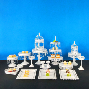 Tobs BLANCO CRISTAL Cupcake Stand redondo Metal pastel Stand Macarons bandeja caramelo bar postre boda fiesta decoración herramientas