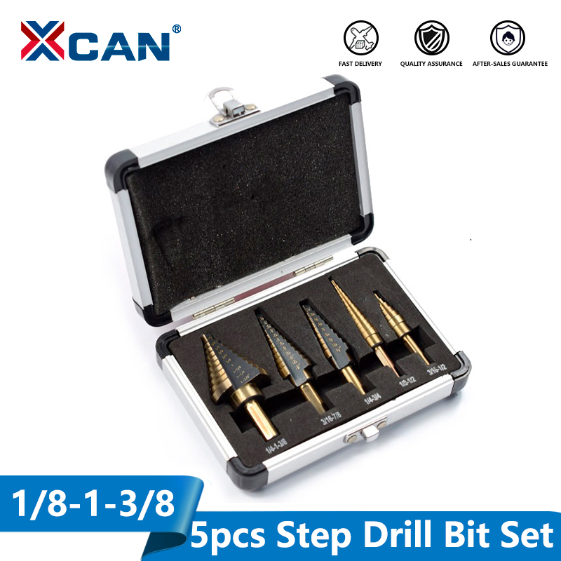 XCAN 5pcs HSS High Speed Steel Step Drill Bit Cobalt  Step Drill For Metal Wood Hole Cutter Core Drill Bit