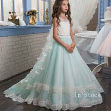купить Floor Length Princess Light Sky Blue Lace Flower Girl Dresses 2019 Applique Girls Pageant Dress First Communion Dresses онлайн