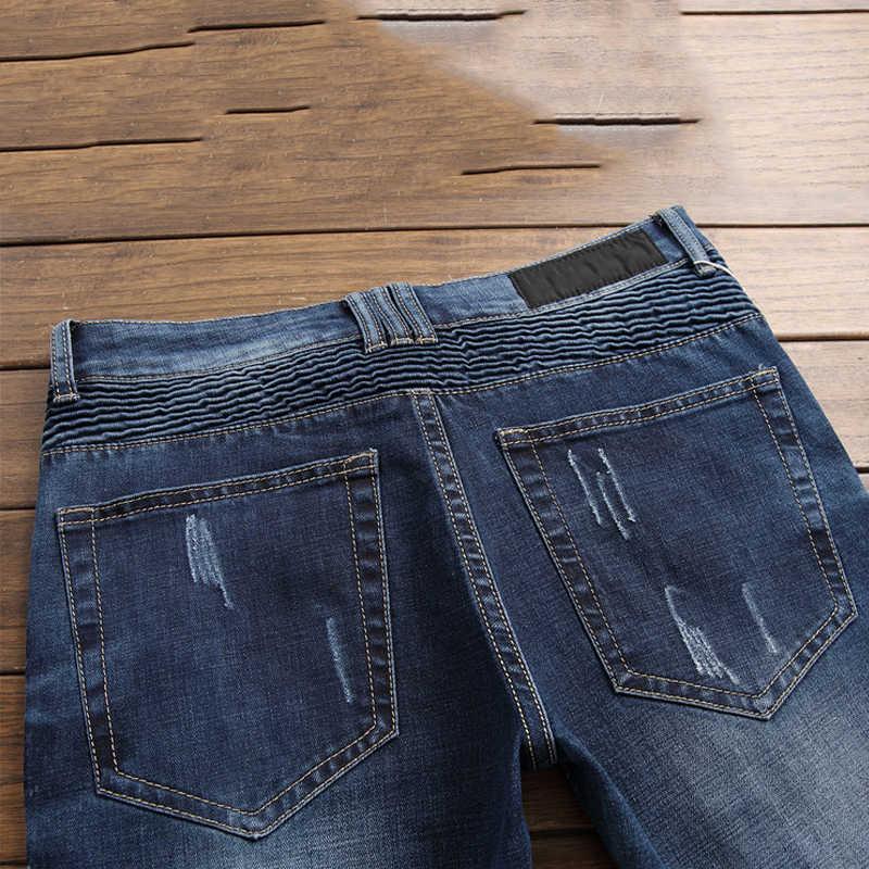 Dei Jeans Degli Uomini di Jean Homme Skinny Denim Spijkerbroeken Heren Biker Stretch Pantaloni Slim Fit Pantaloni Dritti Marque De Luxe Distrutto