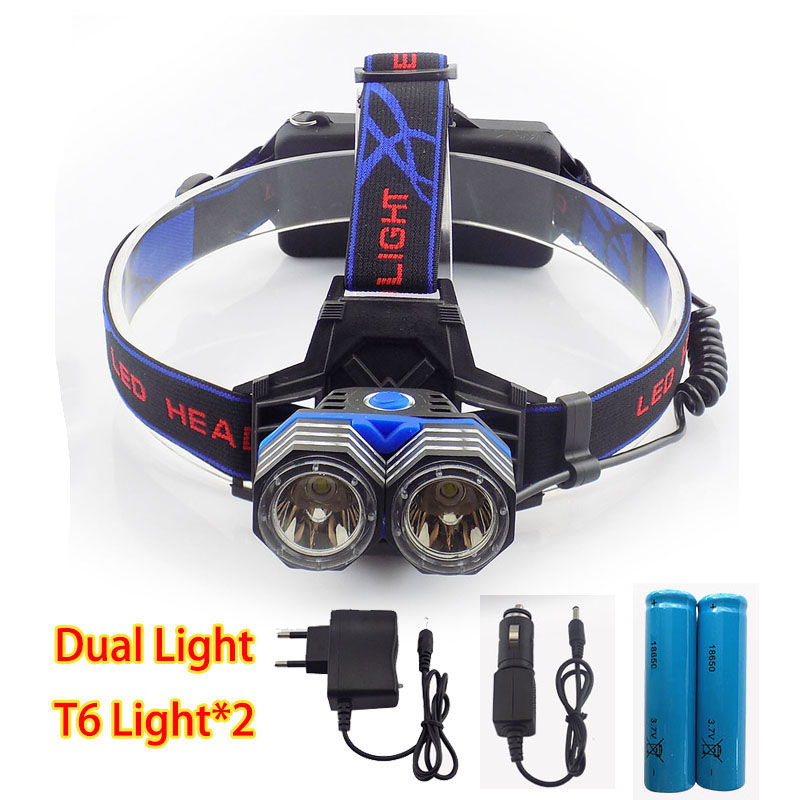 Dual T6 LED Headlamp Headlight High Powerful Flashlight Bright Head Light Lamp Torch Linterna Frontal For Outdoor Hiking Camping