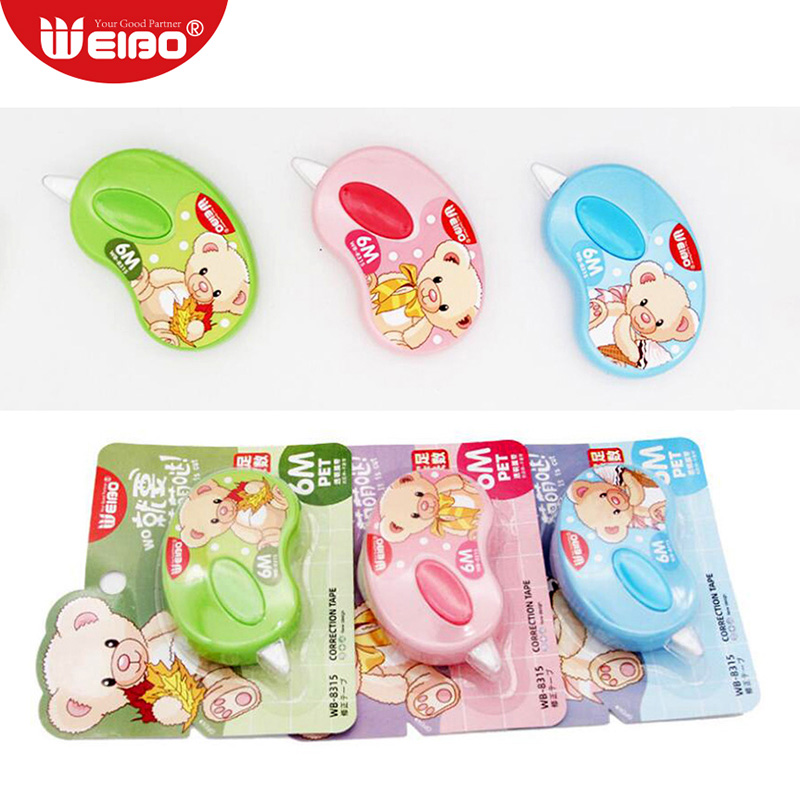 1pcs 6m Cute Bear Correction Tape School Stationery For School Supplies 5mm Kawaii Students Correction Tapes 3 Colors
