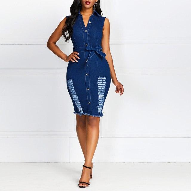 Dress Jeans Women Dress Sheath Dress Summer Womens Button Down Denim Sexy Dress Ladies Lace Jeans Long Shirt Dress vestido