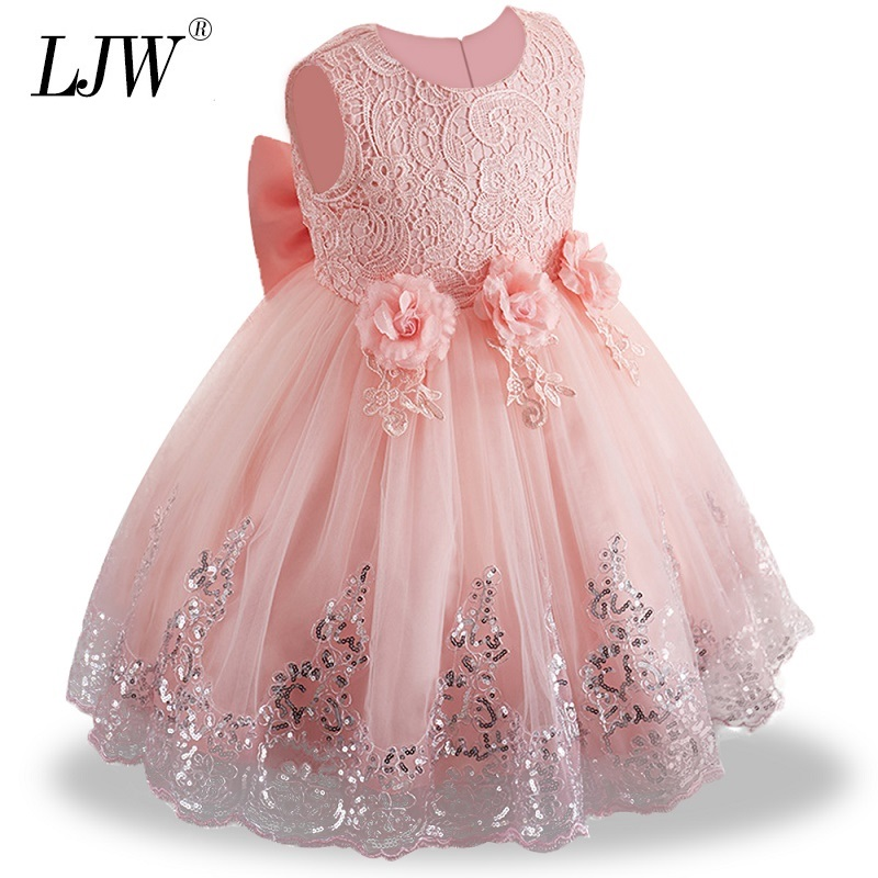 Dress Clothing Lace Birthday-Party Wedding Girls White Baby Infant 1st-Year Summer