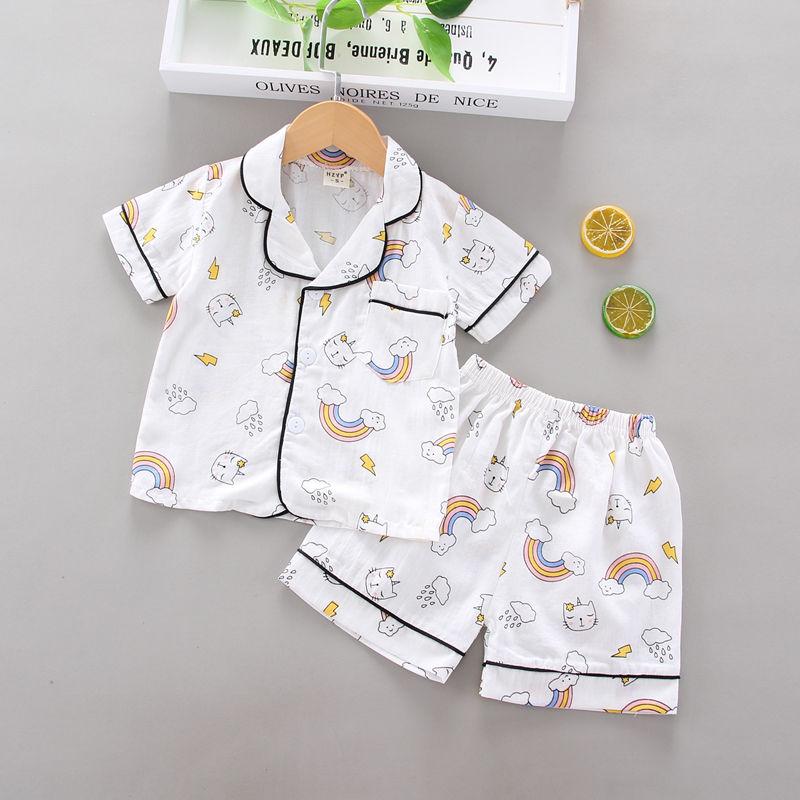 kids baby boys girls CARTOON PRINTE short sleeve tops shirts sleepwear shorts toddler pajama sets 2pcs children casual costumes