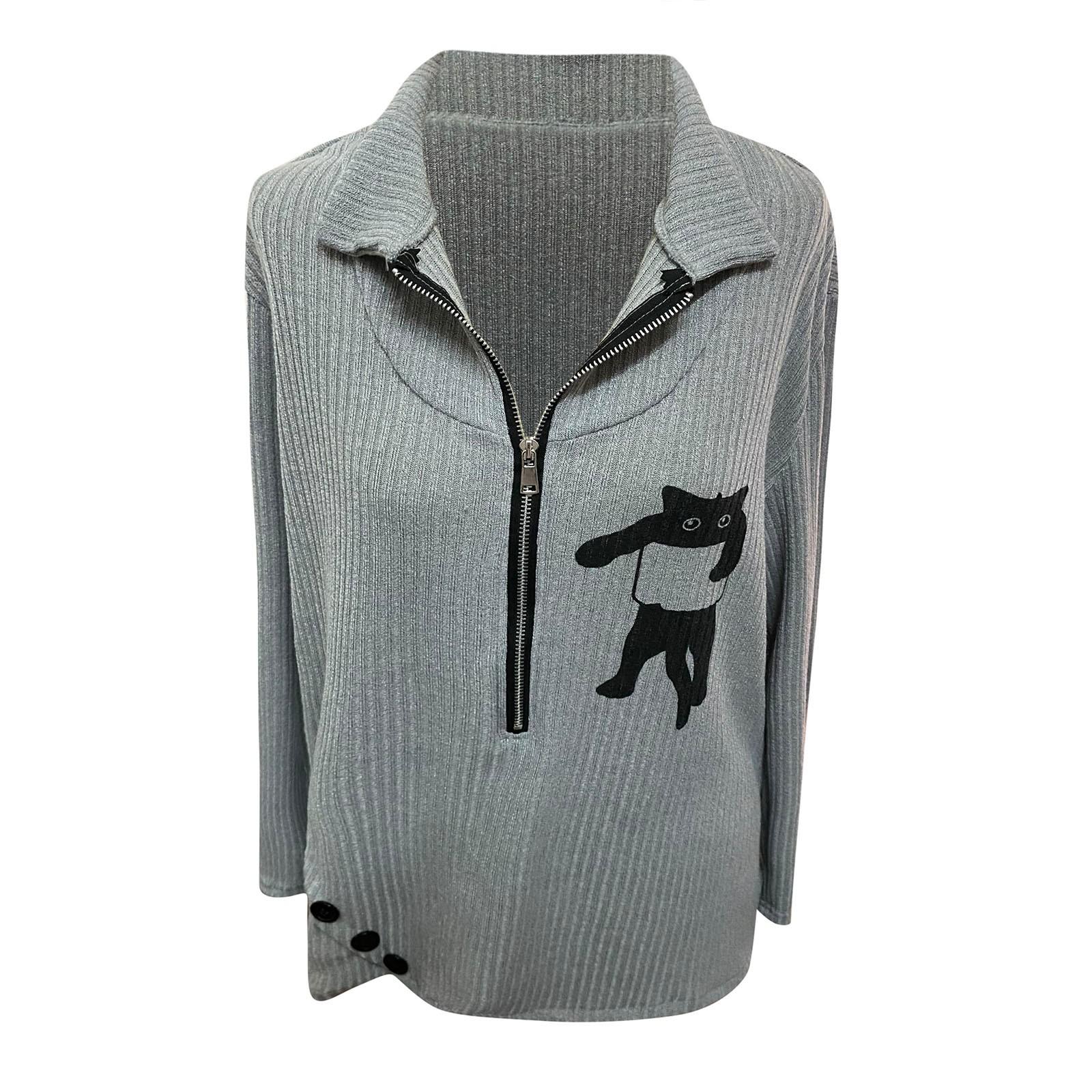 4# Woman Sweaters 2020 Fashion High end Autumn New Products Lapel Cat Zipper Long sleeved Sweater Женские Свитера Sweaters