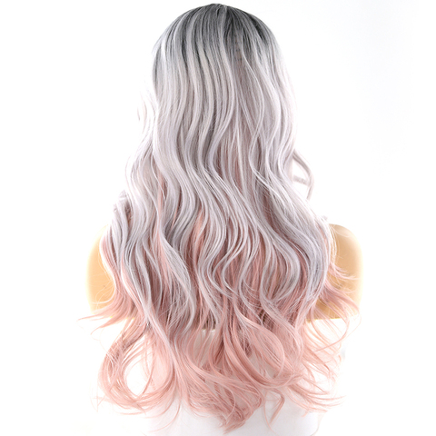 Platinum Pink Ombre Color Synthetic Hair Wigs Side Part For Women X-TRESS 26' Long Wavy Deep Invisible Lace Part Wig With Bangs Karachi