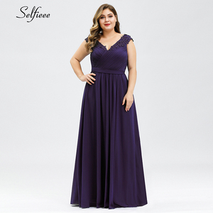 Image 3 - נשים קיץ שמלה בתוספת גודל אלגנטי קו V צוואר כבוי כתף ארוך שיפון אפליקציות תחרה המפלגה שמלת 2020 Vestidos robe Femme