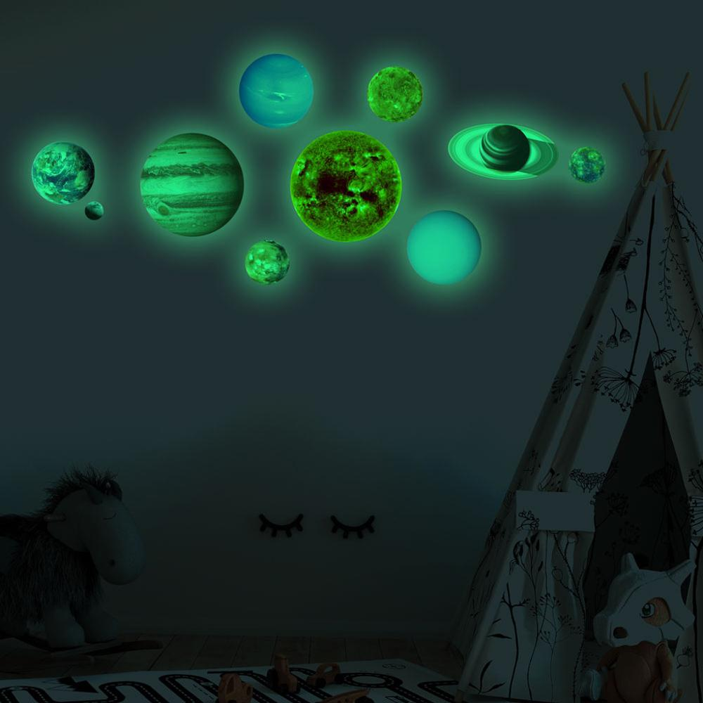 Luminous Moon Earth  Planets 3D Wall Stickers For Kids Room Bedroom Glow In The Dark Stars Wall Sticker Home Decor Living Room
