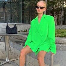 ZKYZWX Neon Green Women Blazers and Jackets Fall Long Sleeve Loose Coat Streetwe